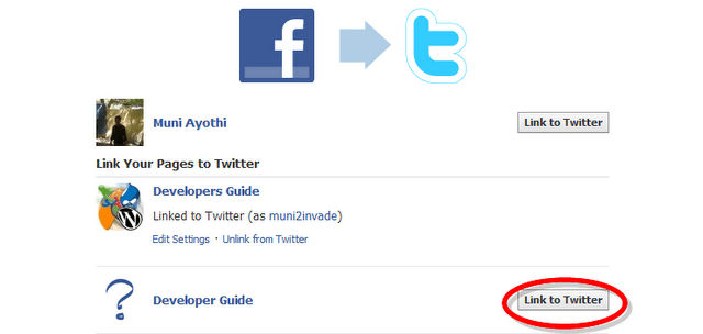 how to add twitter link to facebook page