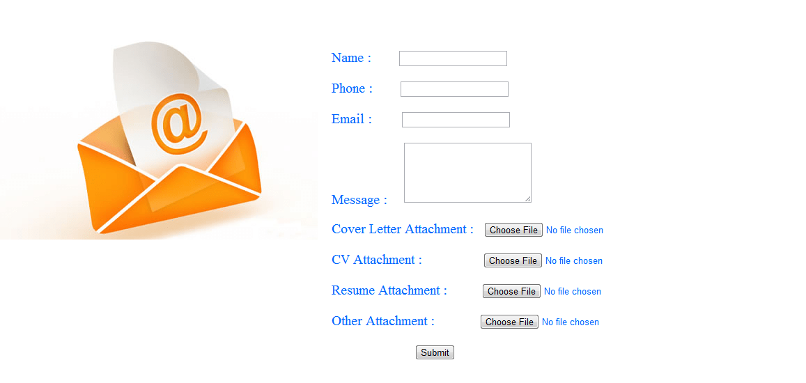 Send mutiple files in email using php- html email form