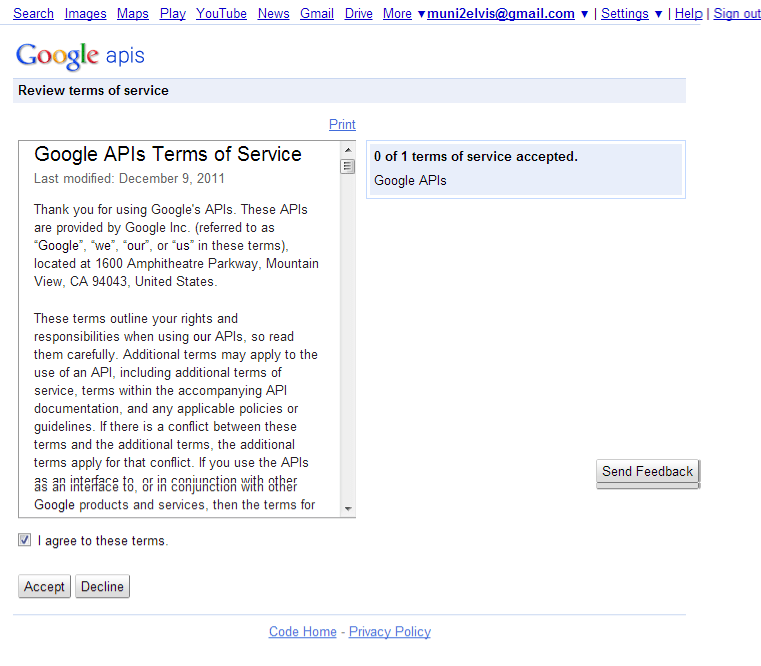 get google API-Google Service Agreement Page