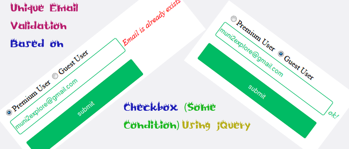 Unique Email Validation Based on Checkbox Using jQuery Validation Plugin Custom Methods, Ajax and PHP