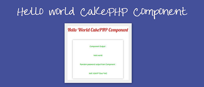 Create Hello World CakePHP Component