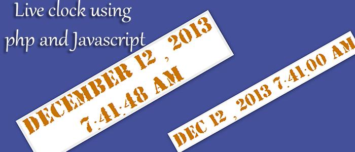 live server time clock script php javascript