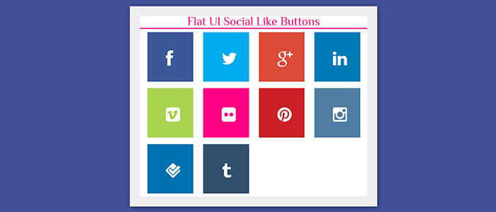 Flat UI Social Networks Like Buttons Using Twitter Bootstrap