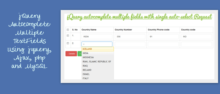 jQuery Autocomplete Mutiple Fields Using jQuery, Ajax, PHP