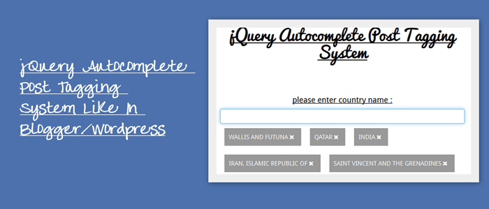 jQuery Autocomplete Post Tagging System