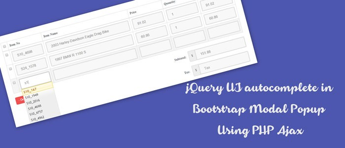 jQuery UI autocomplete in Bootstrap Modal Popup Using PHP Ajax