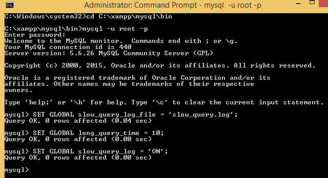 Enable Slow Queries Log In MySQL via Command Line