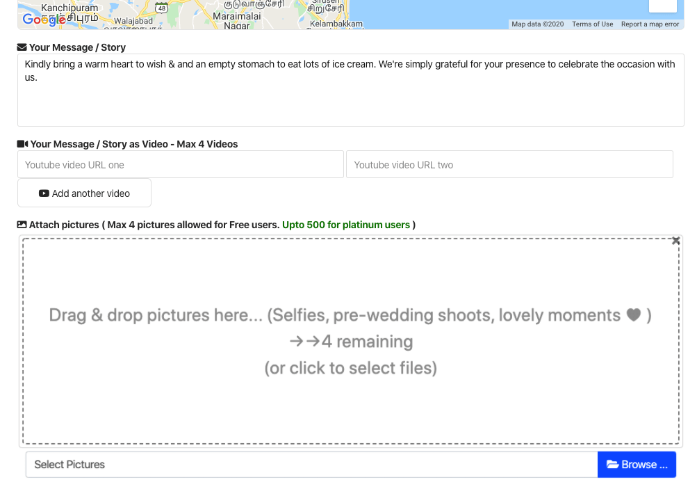 Build your wedding brand by attaching pictures and videos